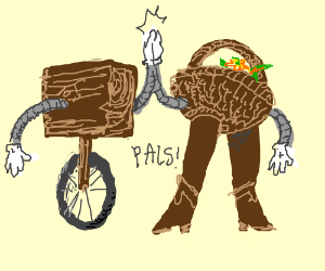 Wood block on wheels & bipedal basket are pals