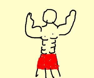 buff naked guy with an aprin