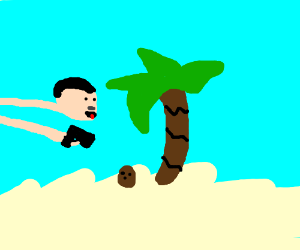 Nazi Gun peeing on a coconut(?)
