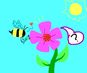Bee flirting with the flowers