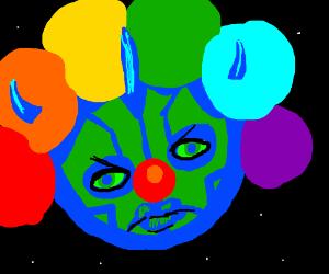 Earth maul is a clown w/ rainbow Afro
