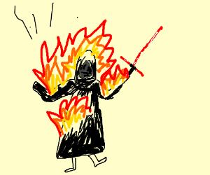 Kylo Ren is on fire