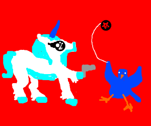 unicorn holds gun to bird with pentagram yoyo