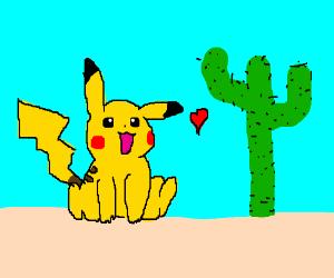 Pikachu Loves Regular Non-Pokemon Cactus.,.,.,