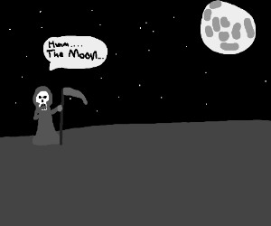The grim reaper contemplates the moon.