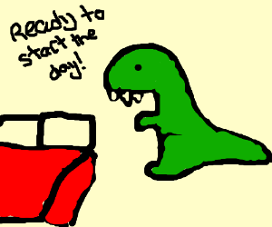 T Rex Making A Bed Drawception
