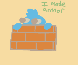 person builds himself armour out of bricks