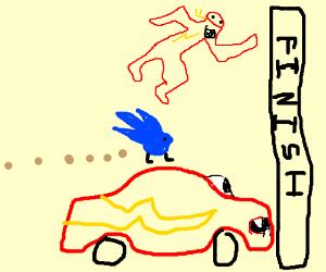 Sonic Flash Lightning Mcqueen In A Race Drawception