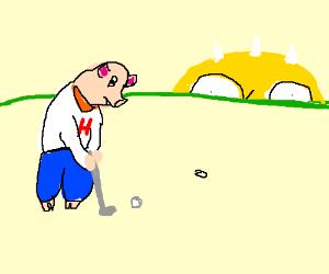 Hamilton The Pig Plays Golf Drawing By Anthmasta Drawception