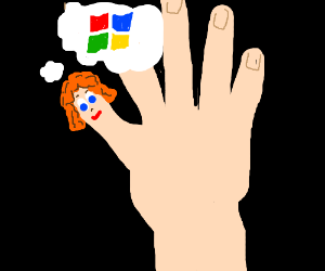 Thumb w/face and wig dreams of Windows logo