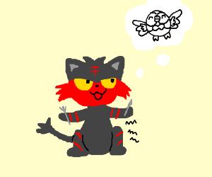 Litten wants to eat Rowlet