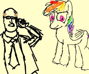 Bald man looking confused at Rainbow Dash