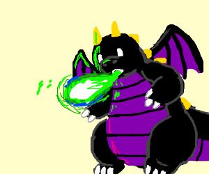 Black/purple dragon spitting green fire