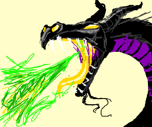 Dragon breathes G R E E N fire