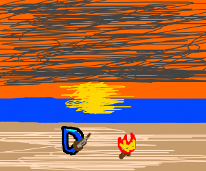 Drawception D playing ukelele by sunset