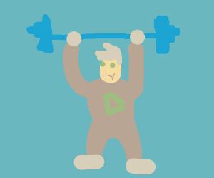 Chubby Danny Phantom lifting weights