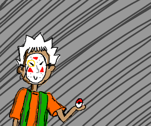 Brock with a fancy mask, and white hair.