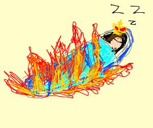 king sleeping in a burning sleeping bag