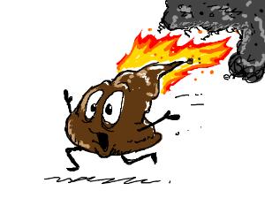 sentient poop on fire