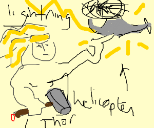 Thor uses lightning to attack a helicopter