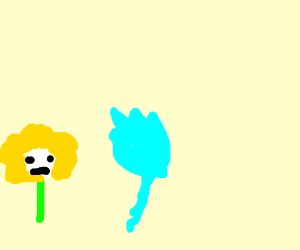 Flowey the Flower argues with an Echo Flower.