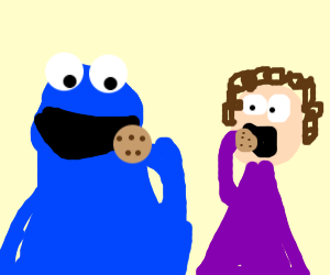 cookie monster eats cookie with girl