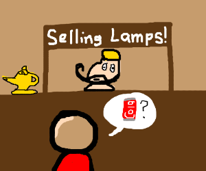 Ali sells Ginie lamp, but tourist want cola.
