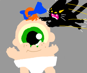 An angry cat leaps on a giant cyclops baby.