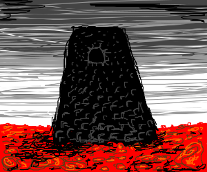 A dark tower in a field of roses