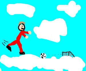 David Beckham plays football in heaven.