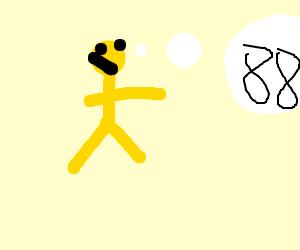 yellow man thinks of 88