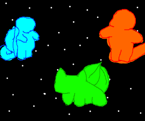 Original Pokemon starters floating in space