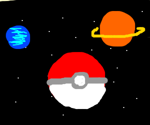 Giant pokeball in space