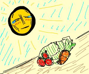 Sun brough to tears by veggies