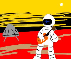 First man on Mars plays ukulele