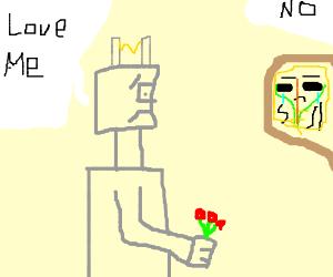 Teenage robot is sad. Heart broken by maskman