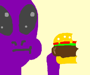 Purple alien eating a burger