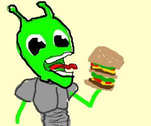 Alien eating a burger