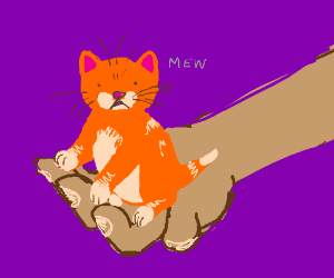 Orange kitten small enough to fit in hand