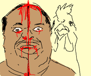 Black man's head cut in half by chicken