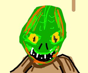 An orange and green Argonian.