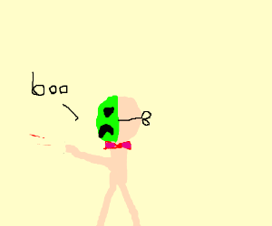 Man wearing a green mask.