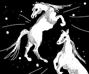 Beautiful white horses dancing in space