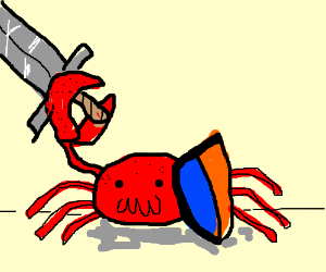 Crab with sword and shield.
