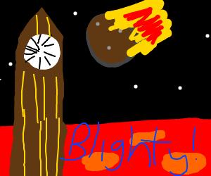 An asteroid hits Big Ben on Mars
