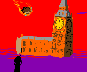 """A meteor is aboutto destroy Big Ben """"Blighty!"""""""