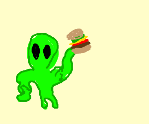 Muscle-bound alien about to hork big burger