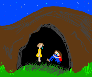 People crying in a cave
