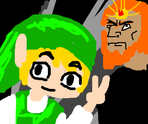 Toon link selfies with unimpressed Ganondorf.