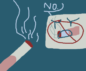 Offering a cig to a no smoking sign